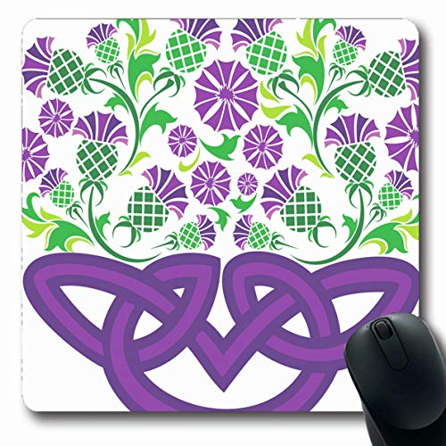 Ahawoso Mousepad Oblong 7.9x9.8 Inches Painting Green Scottish Celtic Knot Form Basket Pattern Thistle Nature Pink Tribal Abstract Culture Mouse Pad Non-Slip Rubber for Notebook Laptop PC - Basket Thistle