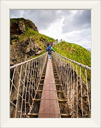 CANVAS ON DEMAND Carrick-a-Rede Rope Bridge, County Antrim, Northern Ireland White Framed Art Print, 15