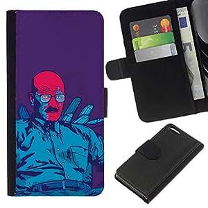 NEECELL GIFT forCITY // Billetera de cuero Caso Cubierta de protección Carcasa / Leather Wallet Case for Apple Iphone 5C // Azul Meth Rey