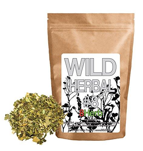 Linden Lemon Tea (Wild Herbal Tea #8 Eight Herb by Wild Foods - 8 Ingredient Tea with Spearmint, Rosemary, Lemon Balm, Linden, Eucalyptus, Blackberry, Eleuthero root, 100% Natural (8 ounce))