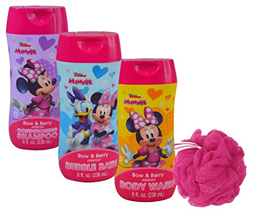 Disney Minnie Mouse Girl's 4pc Bathroom Collection! Includes Body Wash, Shampoo, Bubble Bath & Bath (Disney Bubble Bath)