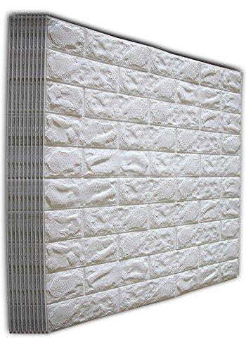 SOOMJ 3D Brick Tile (10-Pack White) 2.6Ft x 2.3Ft Waterproof Wall Sticker Self-adhesive Panels Decor Decal Wallpaper -