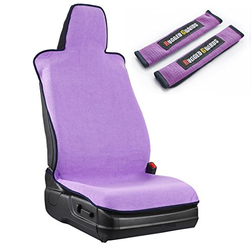 Sport Bucket Seat (RUGGED GUARDS™ Sport Bucket Seat Cover: Super Absorbent Microfiber - Designed for Workout Enthusiasts Universal-Fit Machine Washable with Carry Bag (Seat Cover + 2 Matching Pads, Purple))