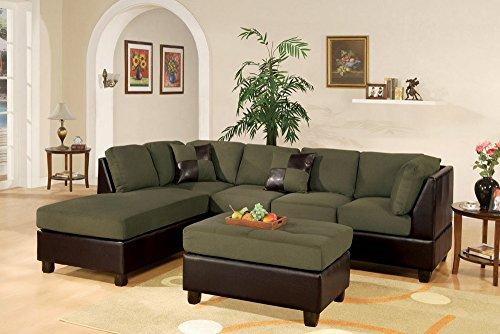 Bobkona Hungtinton Microfiber/Faux Leather 3-Piece Sectional Sofa Set, Sage (Set Sage Sofa Sectional)