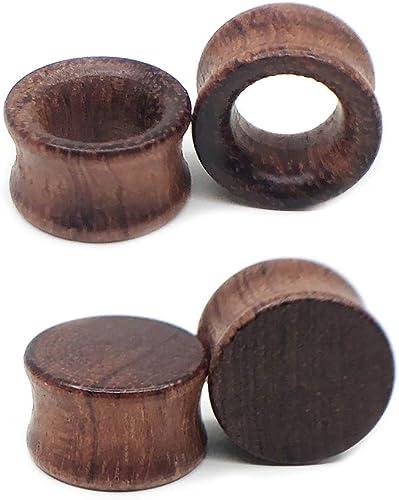 Pair Natural Brown Organic Wood Flesh Ear Tunnels Plugs Gauges Ear Expanders