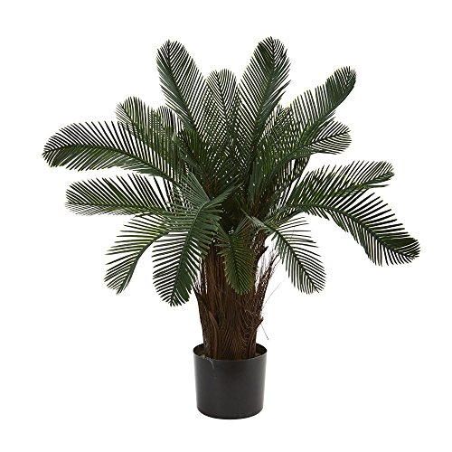 Nearly Natural 2' Cycas Artificial Tree, UV Resistant (Indoor/Outdoor) 2, Green by Nearly Natural