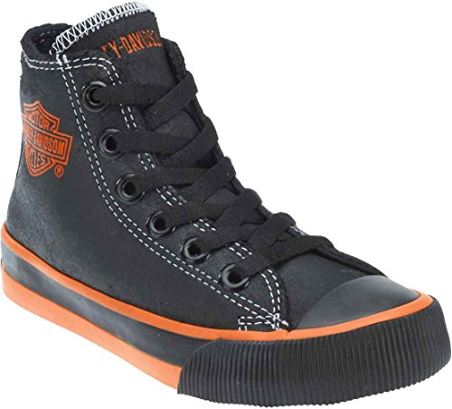 Harley-Davidson Kid's Patch Black Hi-Top Black Sneakers. D61004 (Black, 3) -