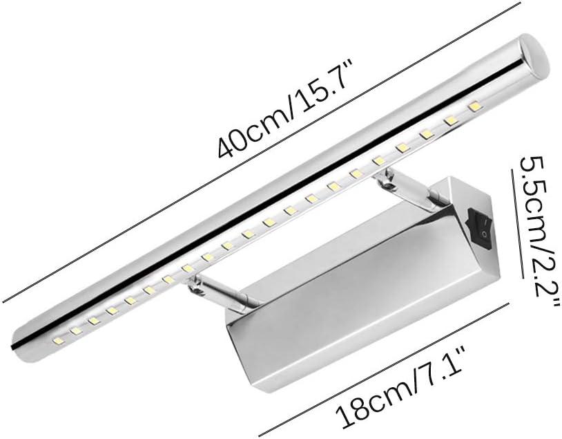 HITECHLIFE Espejo LED Faro L/ámpara de pared para ba/ño L/ámpara de maquillaje con interruptor Acero inoxidable Blanco c/álido//Blanco fr/ío