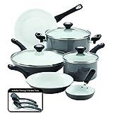 Farberware Purecook Ceramic Nonstick 12 Piece Cookware Set, Gray