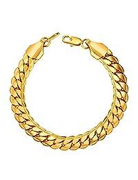 U7 Men Fashion Snake Chain Gold Plated Link Bracelet, Width 6mm-9mm, Length 8.3''