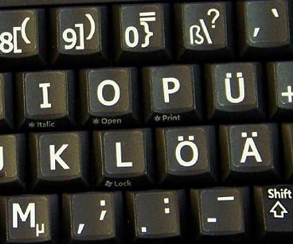 Alemán Reino Unido Grandes letras (mayúsculas) pegatinas de teclado no transparentes de color negro con letras blancas letras: Amazon.es: Electrónica