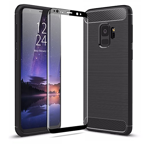 Samsung Galaxy S9 Case With Screen Protector – Olixar Sentinel – Edge to Edge Tempered Glass – Rugged Protection – Wireless Charging Compatible – Black