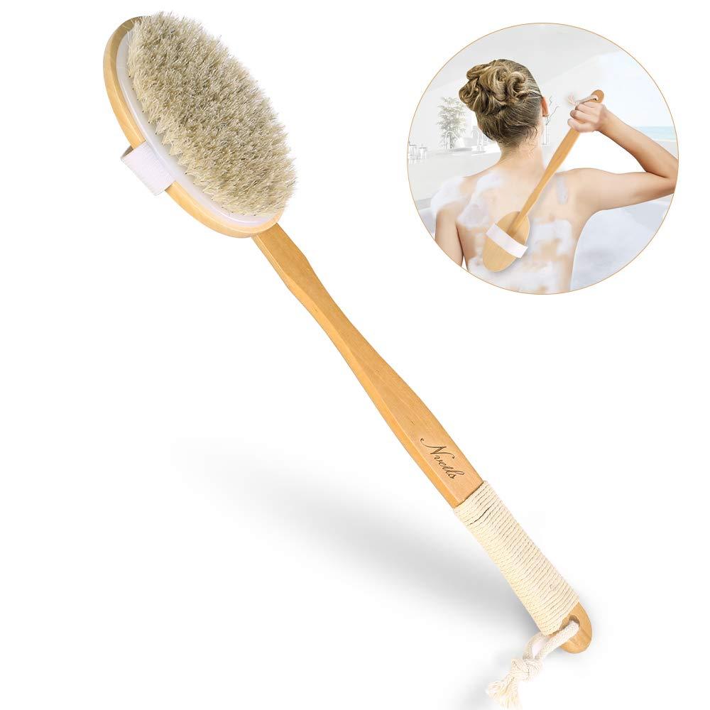 Nvetls Badebürste Naturborsten Rückenbürste Körperbürste mit Langem Bambus Stiel (Borsten)
