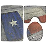 HAIDILUN Wood Texas Flag 3 Piece Bath Rug Set Non-Slip Bathroom Large Mat 19.5'' x 31