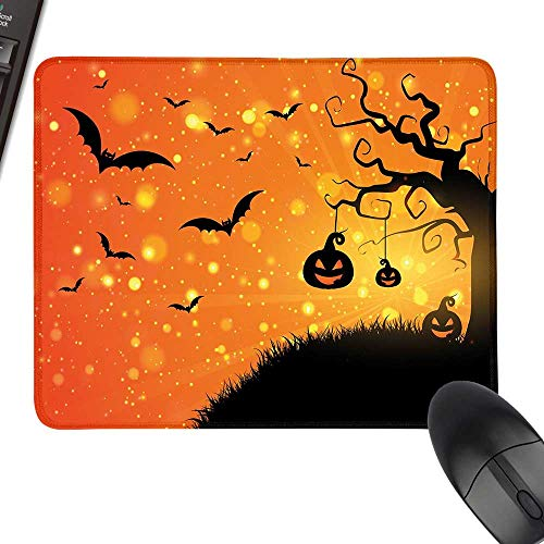 Halloween Desk Pad, Office Desk Mat Magical Fantastic Evil Night Icons Swirled Branches Haunted Forest Hill Laptop Desk Mat, Waterproof Desk Writing Pad 23.6