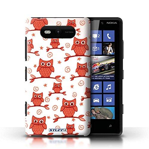 Etui / Coque pour Nokia Lumia 820 / Rouge/Blanc conception / Collection de Motif Hibou
