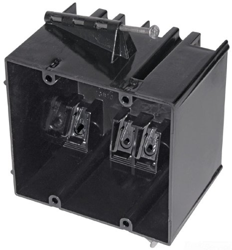 Carlon 234-N Outlet Box, New Work, 2 Gang, 3-3/4-Inch Length by 4-Inch Width by 3-3/32-Inch Depth, Black
