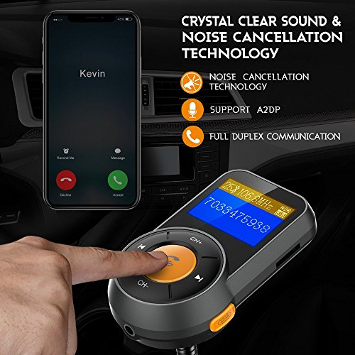 RONXS Bluetooth FM Transmitter for Car Wireless Radio Adapter W QC3.0/2.4A Dual USB Quick Charge, Auto Scan, Power On/Off, Replaceable Fuse, Handsfree Calling, Support SD/TF Card, AUX Out - Orange by RONXS (Image #2)