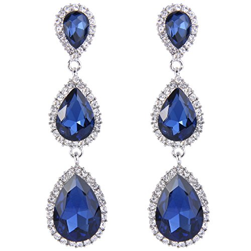 78649435e EleQueen Silver tone Austrian Crystal Earrings product image