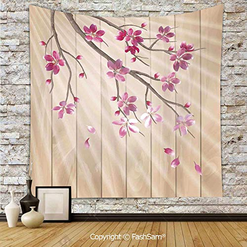 Hanging Tapestries Spring Cherry Twig Falling Petals Sun Beams on Wooden Wall Background Illustration Wall Blanket for Living Room Dorm Decor(W59xL78)