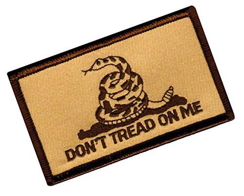 DONT TREAD ON ME GADSDEN FLAG PATCH AMERICAN CAMO TAN w/ VEL