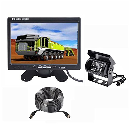 Vehicle Backup Camera and Monitor Kit,IR Night Vision IP68 Waterproof HD Reverse Rear Camera + 7
