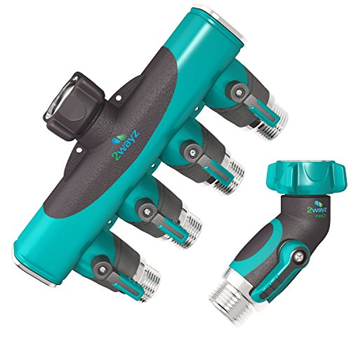 2wayz 4 Way Hose Splitter. The Connector that Will Split, Split, and Some More! Ergonomic Shut Off Knobs. Best Drip Irrigation, Timers, Lawns Faucet Manifold Fitting + 45 Degree Metal Hose Elbow. (Hose Faucet Manifold)
