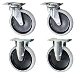 Rubbermaid Replacement Cart Casters - 5'' Non-marking Wheel 4400, 4500 Series Set of 4