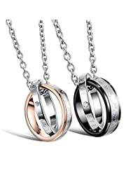Athena Jewelry Titanium Series His & Hers Matching Set Titanium Couple Pendant Necklace Korean Love Style in a Gift Box (ONE PAIR)