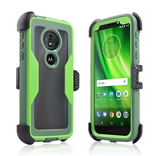 - Compatible for Motorola Moto G6 Forge/ G6 Play 2018 (XT1922) Full Body Rugged Holster Explorer Tough Armor Case with Swivel Belt Clip & Built in Screen Protector Clear G6 Play/Forge Cover (Green)