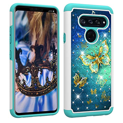 Price comparison product image Berry Accessory LG V40 ThinQ Case, LG V40 Case Case, Luxury Glitter Sparkle Bling Case, Studded Rhinestone Crystal Hybrid Dual Layer Armor Case for LG V40 ThinQ / LG V40 Gold Butterfly