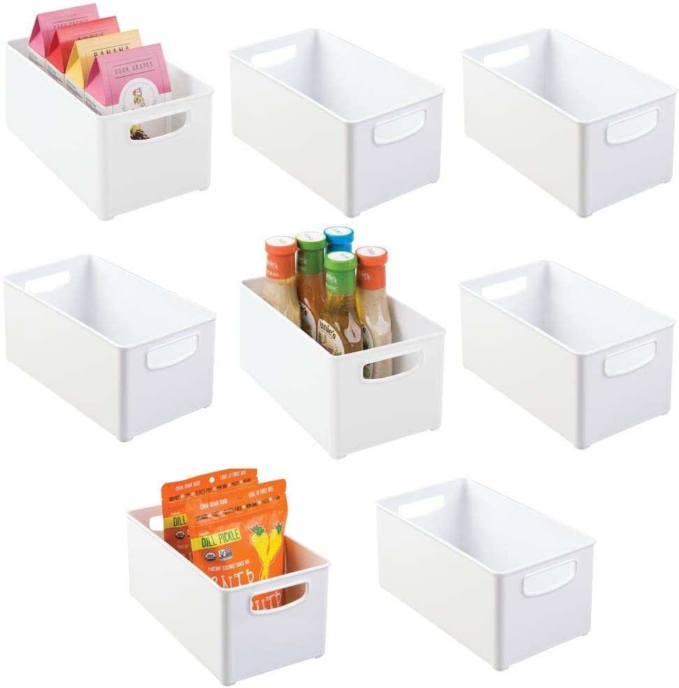 "mDesign Plastic Stackable Kitchen Pantry Cabinet, Refrigerator, Freezer Food Storage Bin with Handles, Lid - Organizer for Fruit, Yogurt, Snacks, Pasta - BPA Free, 10"" Long, 8 Pack - White"