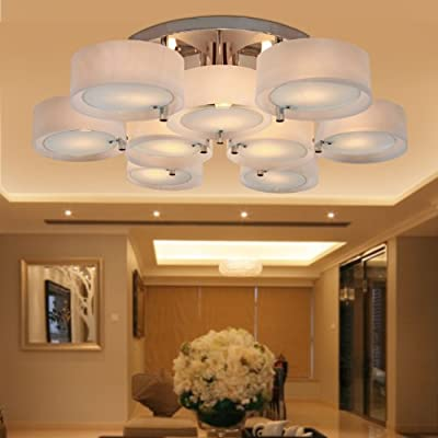 LightInTheBox Acrylic Chandelier with 9 lights Modern Flush Mount Ceiling Light Fixture fit for Study Room/Office, Bedroom, Living Room (Chrome Finish)