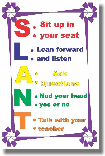 S.L.A.N.T - New Classroom Motivational Poster