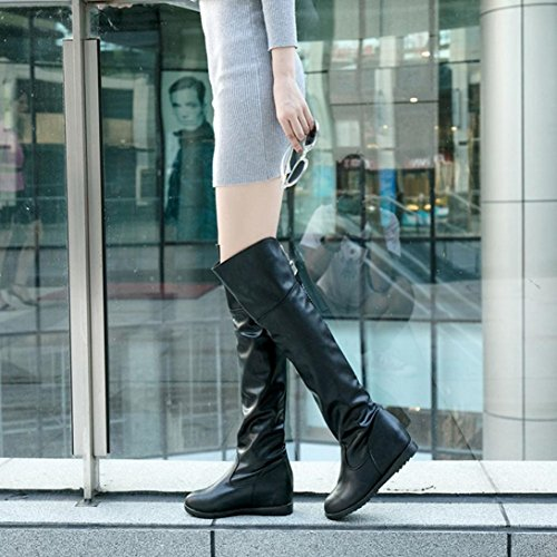 tacones Botas Manadlian con Botas Aumento sobre mujer de Negro de invierno para altas la Bota zapatos planos rodilla Zrrgdfq