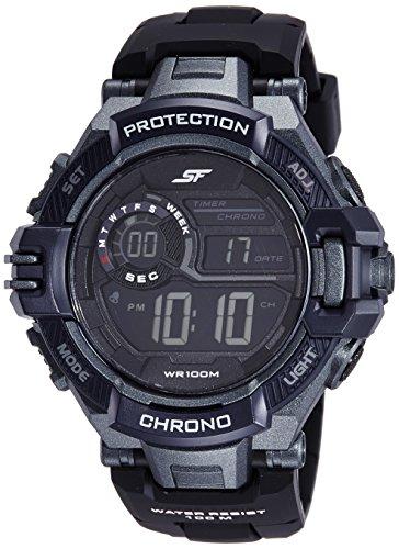 Sonata Fibre (SF) Digital Grey Dial Men's Watch-NL77075PP02