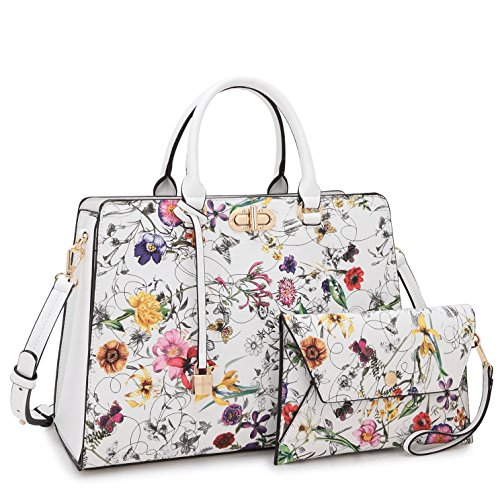 Large Designer Handbag Tote - MMK collection Fashion Women Purses and Handbags Ladies Designer Satchel Handbag Tote Bag Shoulder Bags with coin purse (XL-23-7581-White Flower)