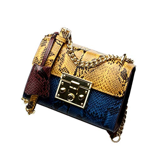 (Women Genuine Leather Sling Bag Snakeskin Pattern Cross Body Contrast Color Shoulder Bag for Girls Cute Bags for Summer (YellowBlue))