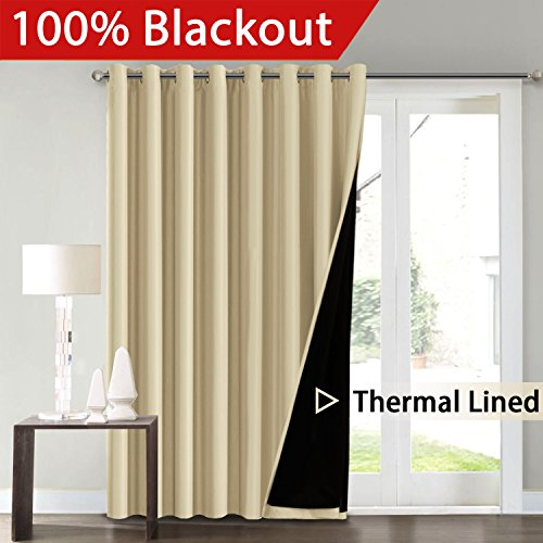 FlamingoP Full Blackout Energy Efficient Wheat Room Divider Curtains Faux Silk Satin Extra Long  ...