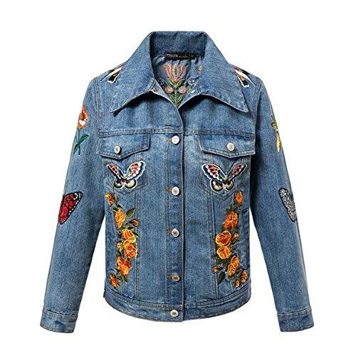 Cropped Jacket & Silk Skirt (LEOVERA Women's Girls Embroidered Reversible Denim Jeans Bomber Jacket LVNZ863-Jeans-S)