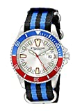 Stuhrling Original Men's 907.331OC2 Aquadiver Regatta Bravura Swiss Quartz Date Black and Blue Canvas Strap Watch