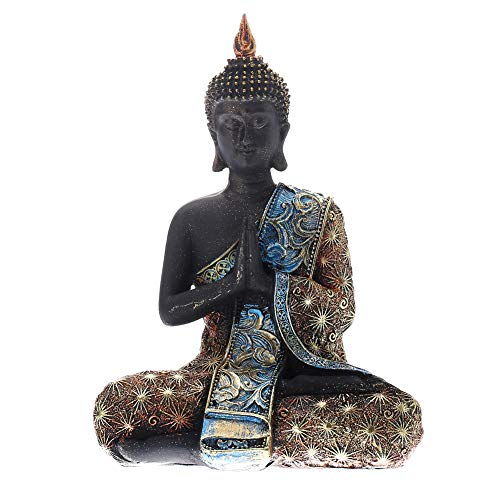 - Prime Feng Shui Black Buddha with Bling Golden Cassock Figurine Sitting Vairocana Buddha Home Decor Statue for Gift (Anjali Mudra)