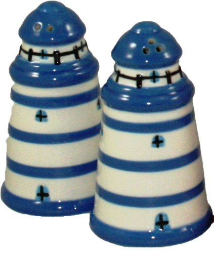 dise/ño de faros Banlon color azul Juego de salero y pimentero cer/ámica