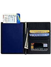 SHANSHUI Primely Genuine Leather Travel Wallet & Passport Holder RFID Protection Credit Card pockets,Clear ID Card,Business Cards,Coupons,Pen,Boarding Passes & Notes(Black)