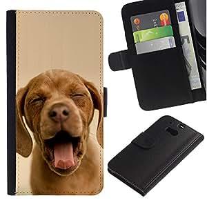 Chocolate Retriever Yawn Puppy Sleepy - la tarjeta de Crédito Slots PU Funda de cuero Monedero caso cubierta de piel HTC One M8