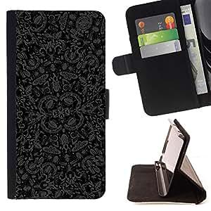 BullDog Case - FOR/Sony Xperia M2 / - / wallpaper butterflies bugs nature art grey black /- Monedero de cuero de la PU Llevar cubierta de la caja con el ID Credit Card Slots Flip funda de cuer