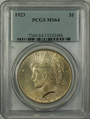 1923 Peace Silver Dollar Coin (ABR15-K) Toned Better Coin $1 MS-64 PCGS