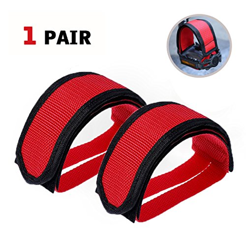 SBYURE 1 Pairs Bicycle Pedal Straps Pedal Toe Clips Straps Tape Slip Double Adhesive Straps for Fixed Gear Bike Beginner (Double Toe Clips)