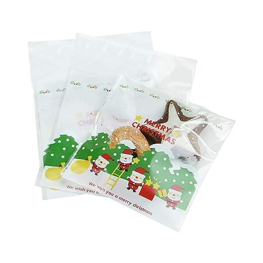 Emorias 100Pcs Bolsa de Embalaje Navidad Santa Claus Galletas Dulces Bolsitas para Envolver Verde Almacenamiento Regalo - 10 * 10+3CM