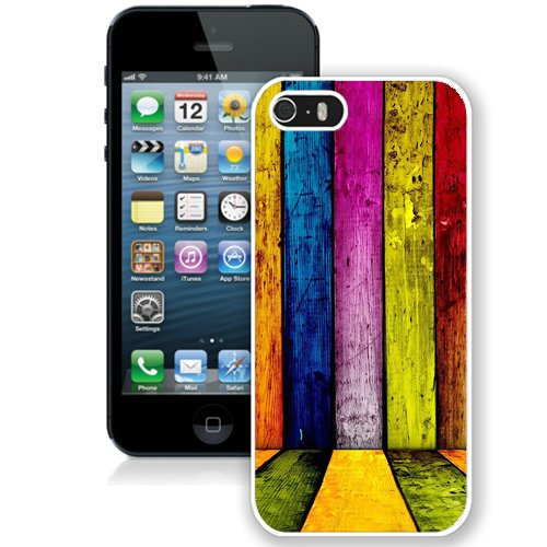 Coque,Fashion Coque iphone 5S Colorful Painted Wood Planks Background blanc Screen Cover Case Cover Fashion and Hot Sale Design